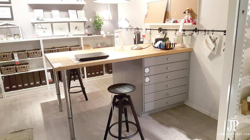 The BEST Ikea Craft Rooms Organizing Ideas - this is a craft room inside an IKEA showroom! Perfect for a basement or in a large living area. See more in this post by craft expert Jennifer Priest. #ikeacraftrooms #craftroom #craftrooms #ebook #crafting #craftspace #craftsposure