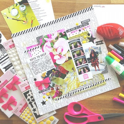 Up on the @tombowUSA blog today at blog.tombowusa.com,  check out how to create a custom colored scrapbook page with Bella Blvd's Just Add Color line and Tombow markers and adhesives. #tombowusa #justaddcolor #scrapbooking