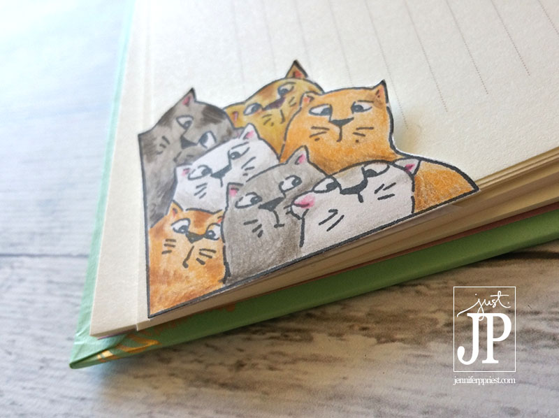 Cat Bookmark Art Impressions Tombow JPriest   Make these fun cat themed corner bookmarks using a stamp., Tombow colored pencils, and a business envelope. Jennifer Priest shares how in this video tutorial.