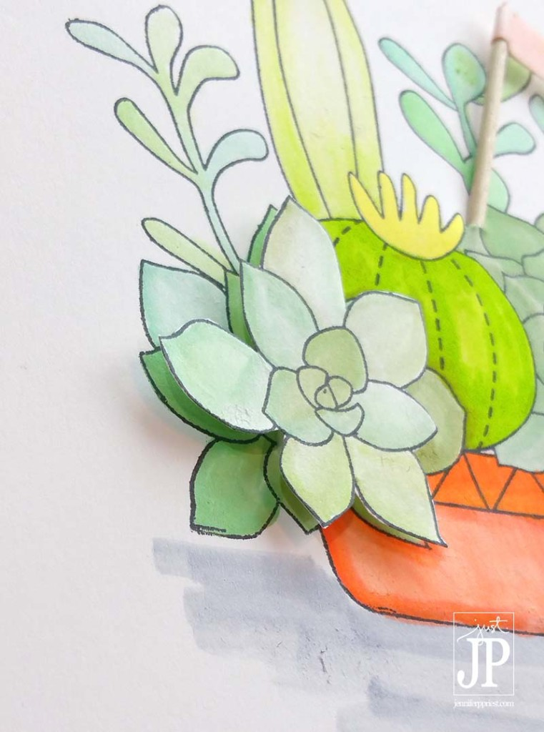 Stamped Image on Foam Waffle Flower Succulents JPriest