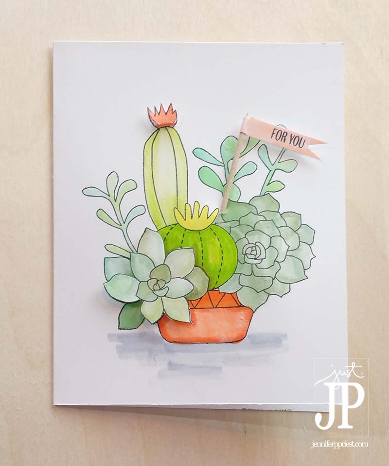 Succulents Card with Tombow Dual Brush Pens - Coloring JPriest