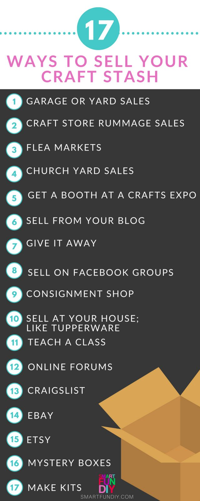 list of 17 ways to sell your craft stash