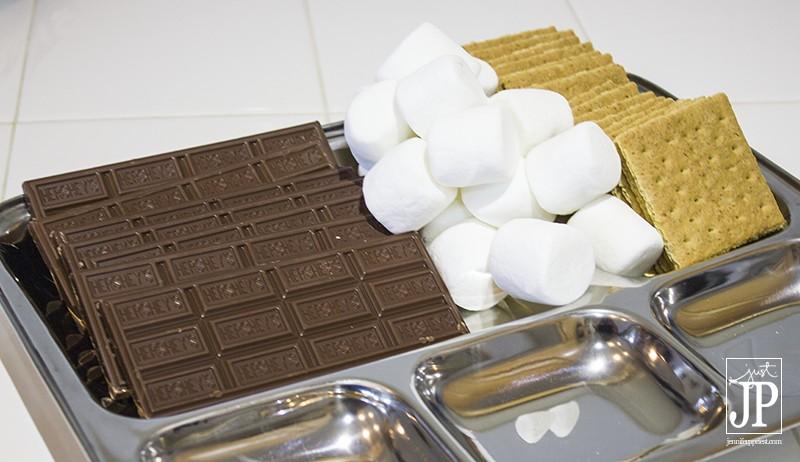 Smores Supplies - Hershey's Milk Chocolate Bars, Honey Maid Graham Cracker Squares, and Kraft's Jet Puffed Marshmallows