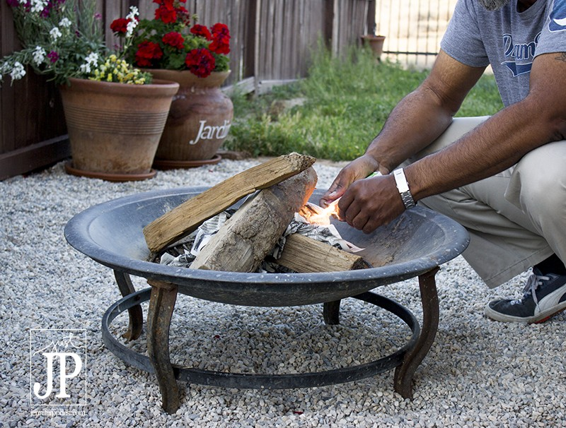 How to stack wood in a fire pit for Smores - JPriest