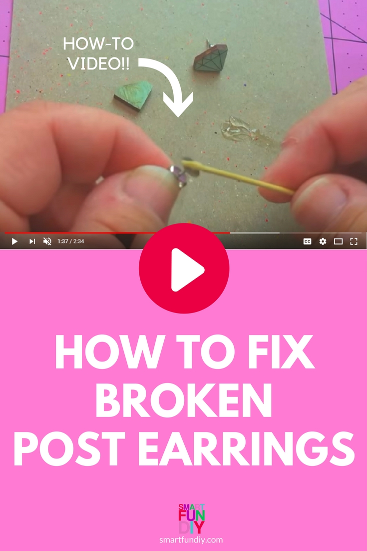 screenshot of video showing how to fix broken post earrings