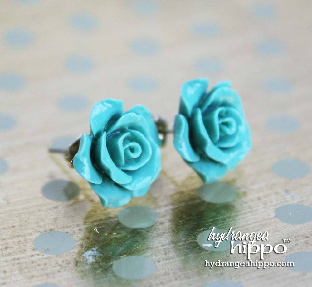 Turquoise Rose Bud Earrings by Jennifer Priest for Hydrangea Hippo