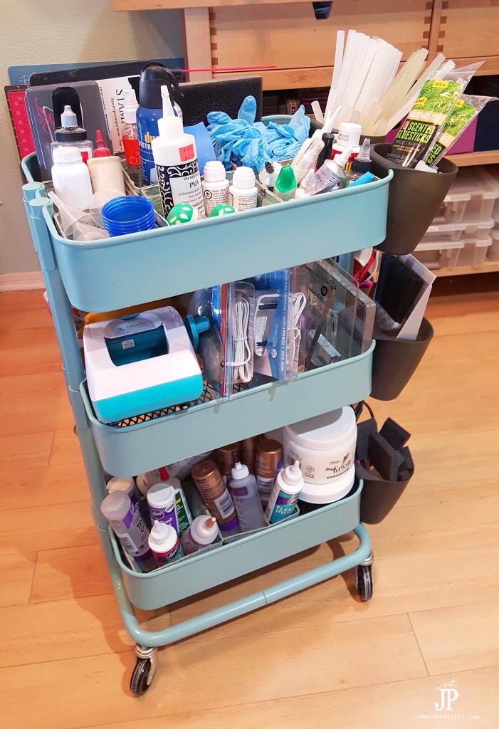 Craft-Room-Tour-2016---RASKOG-Cart-with-craft-supplies---Jennifer-Priest