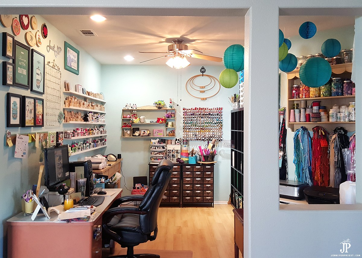 CRAFT room tour with TONS of amazing ideas! Ikea craft storage, library card catalogs, apothecary cabinets and great shelves for organizing paint and organizing stamps. Harbor Freight spinner for inks and so many more ideas. VIDEO TOUR! 2016 Craft Room Tour by Jennifer Priest