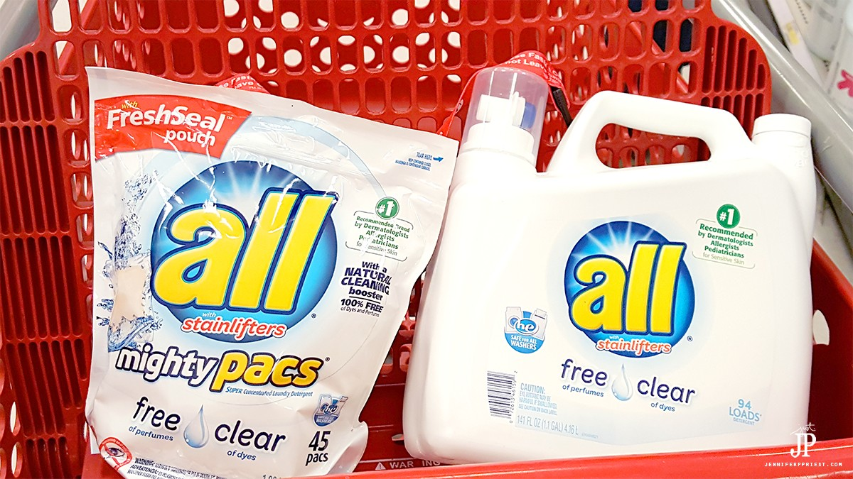 Pick up all free and clear detergent at Target to help battle seasonal allergies.