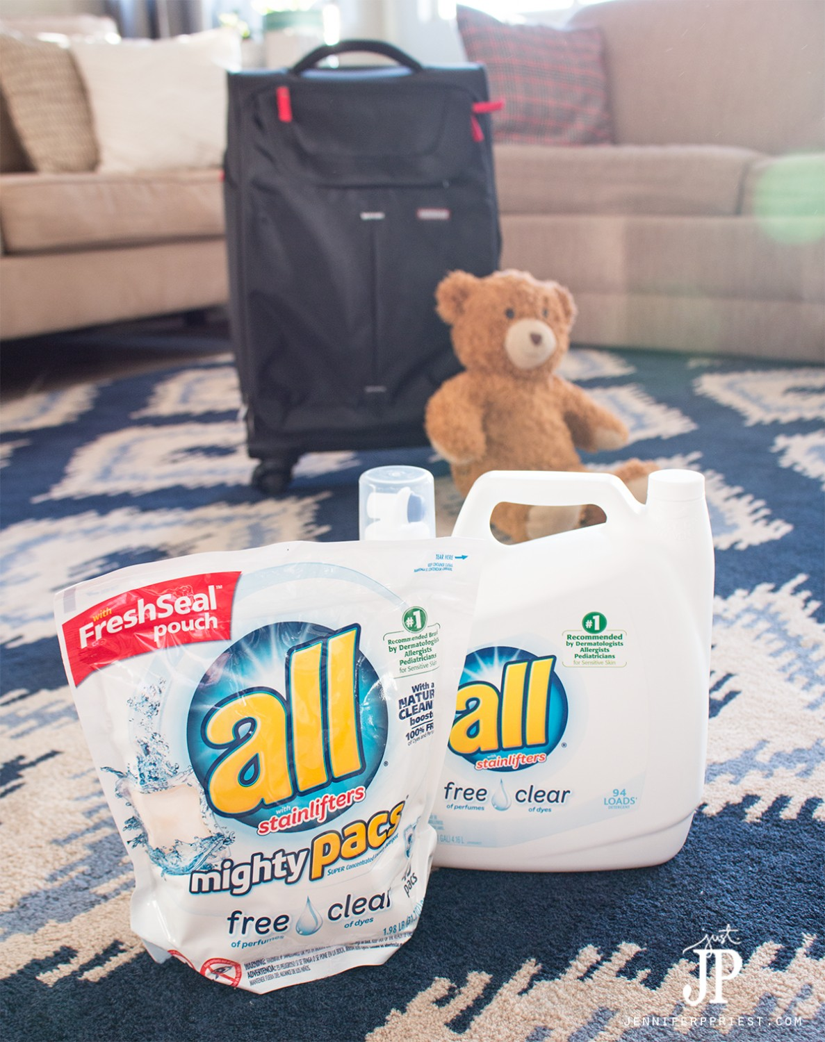 Prepare for seasonal allergies while traveling by washing clothes, stuffed animals, and fabric bags in all free and clear detergent before the trip. FREE checklist for traveling with kids with seasonal allergies.