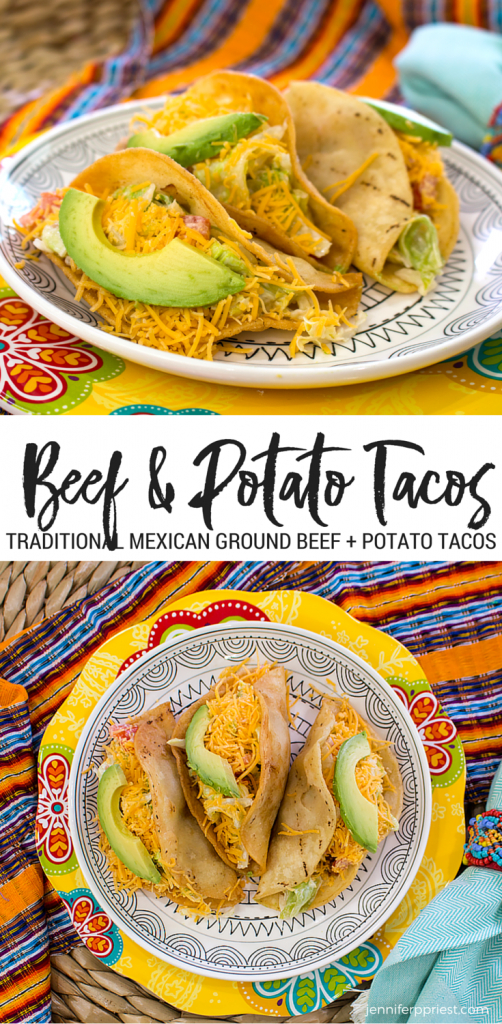 ground beef potato tacos image collage