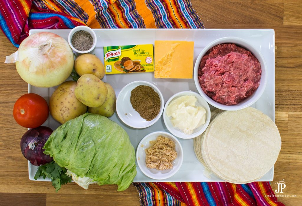 ground beef potato tacos recipe ingredients