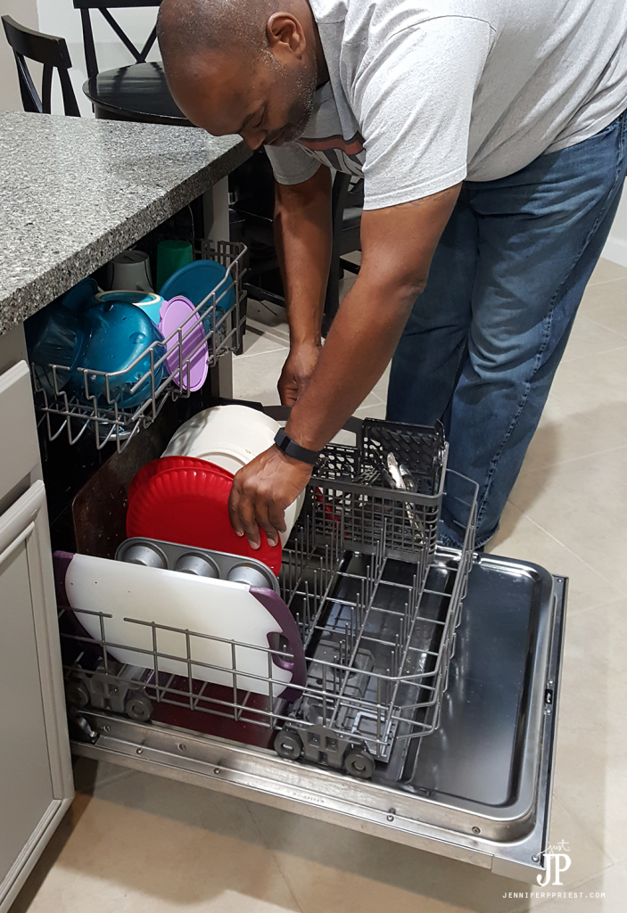 Load and run the dishwasher at night - reduce waste by using real dishes and ave money by running the dishwasher at off-peak times