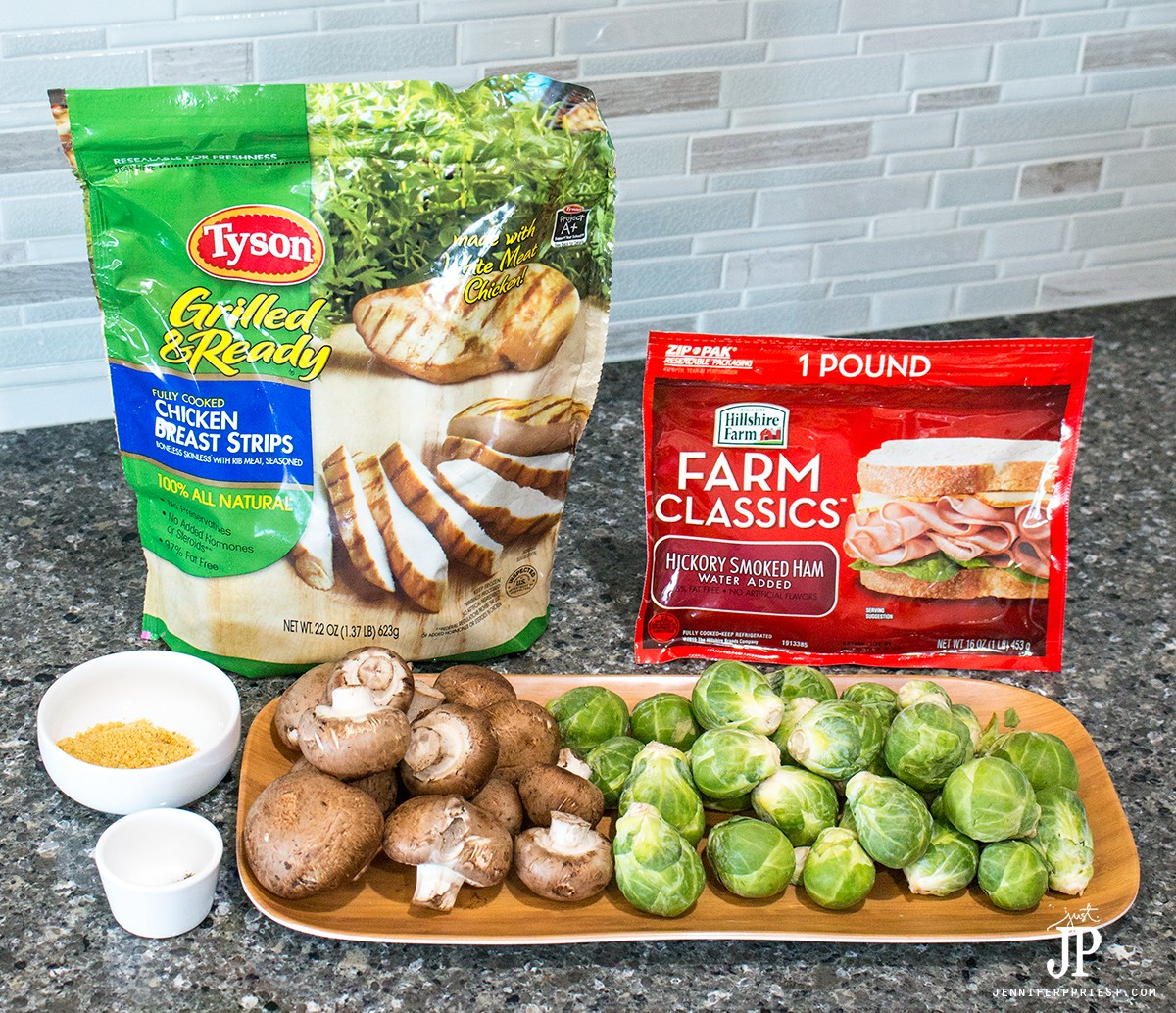 30 minute meal - easy Mushroom chicken recipe with roasted brussels sprouts - the kids will even love this!