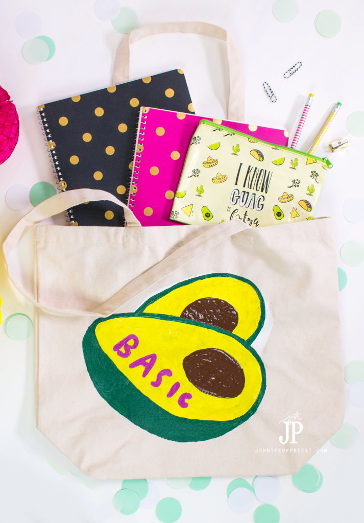 Make this FUN DIY tote - see how to do a faux screenprint technique and add emoji and your favorite snapchat stickers to everything, with fabric paint!