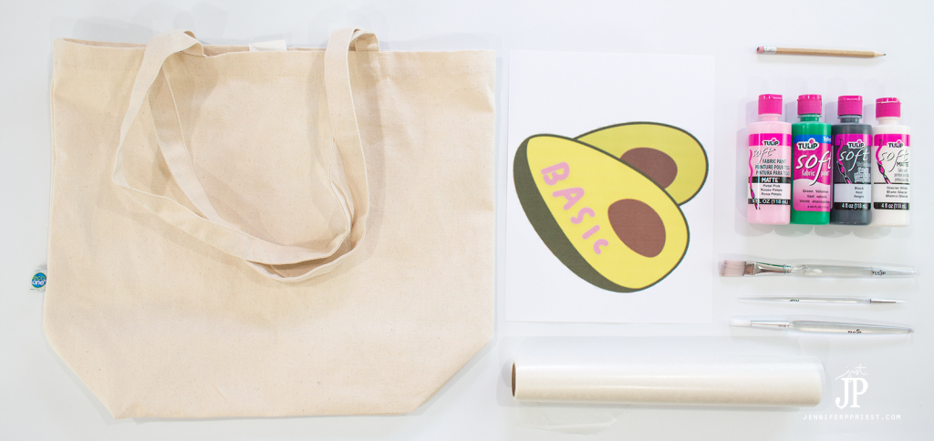 SUPPLIES - Make this FUN DIY tote - see how to do a faux screenprint technique and add emoji and your favorite snapchat stickers to everything, with fabric paint!