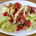 Add 1 TBSP of pico de gallo to top each taco.