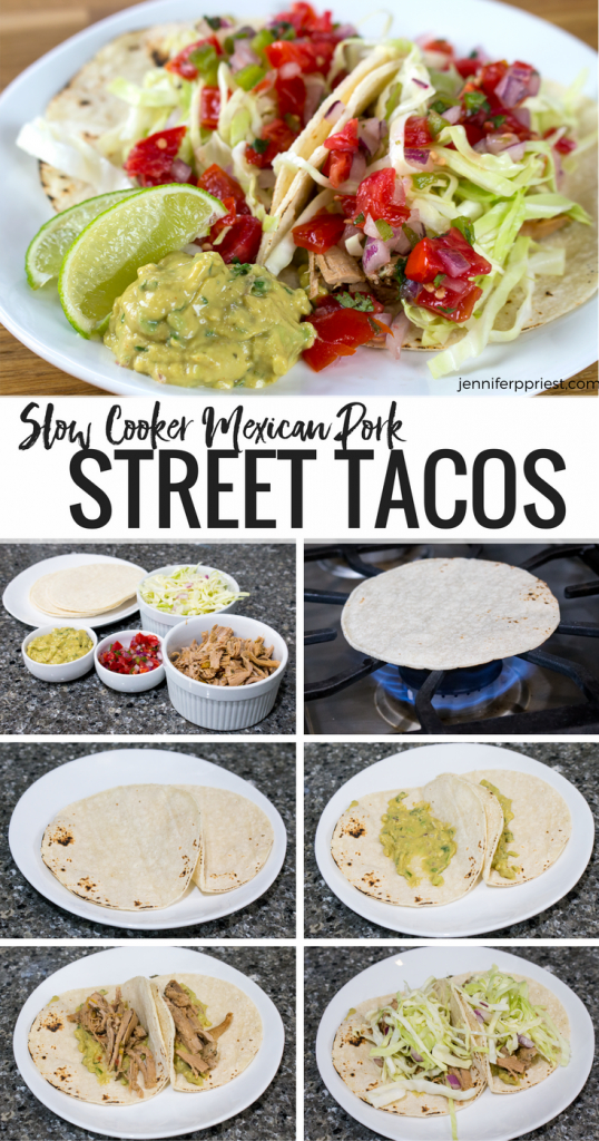 Delicious pork street taco Mexican recipe using slow cooker pork and a creamy guacamole recipe from Knorr.
