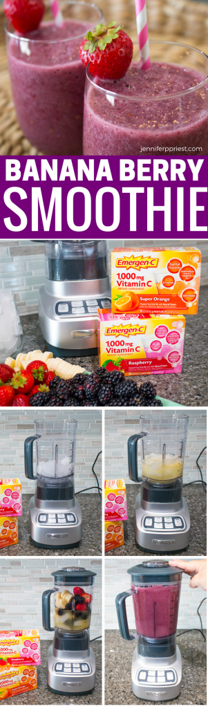 Delicious banana berry smoothie recipe with extra nutrients from Emergen-C - get the recipe for these dairy free, vegetarian, paleo-friendly, gluten free smoothies from jenniferppriest.com #EmergenCRecipes #AD