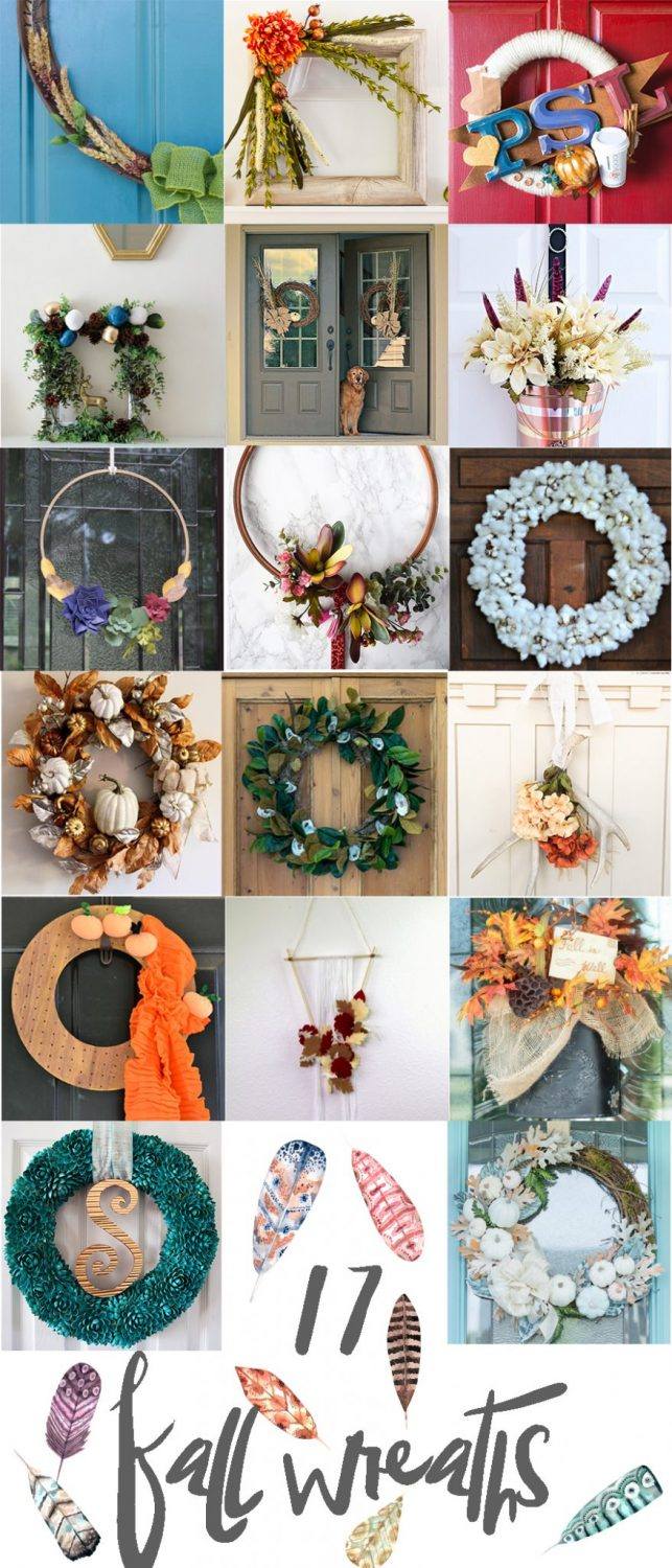 The BEST DIY Fall Wreaths Ideas all in one place - these aren't the average pumpkin and acorn covered wreaths. THESE are unique, different, and on trend wreaths you'll be proud to hang on your door. No more grandma wreaths!