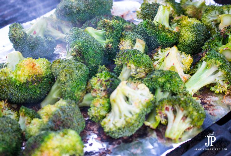 PALEO Grill Roasted Broccoli Recipe with Cedar Plank Salmon