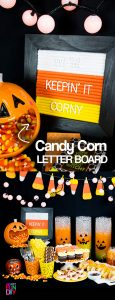 #ad #ClubBash Make a candy corn colored Felt Letter Board for a CANDY CORN Halloween party! It's all part of the fun with Ball Park® Frank Hot Dogs and Hillshire Farm® Lit'l Smokies. Get the full how-to here: https://www.smartfundiy.com/ad-diy-felt-letter-board-candy-corn-edition/