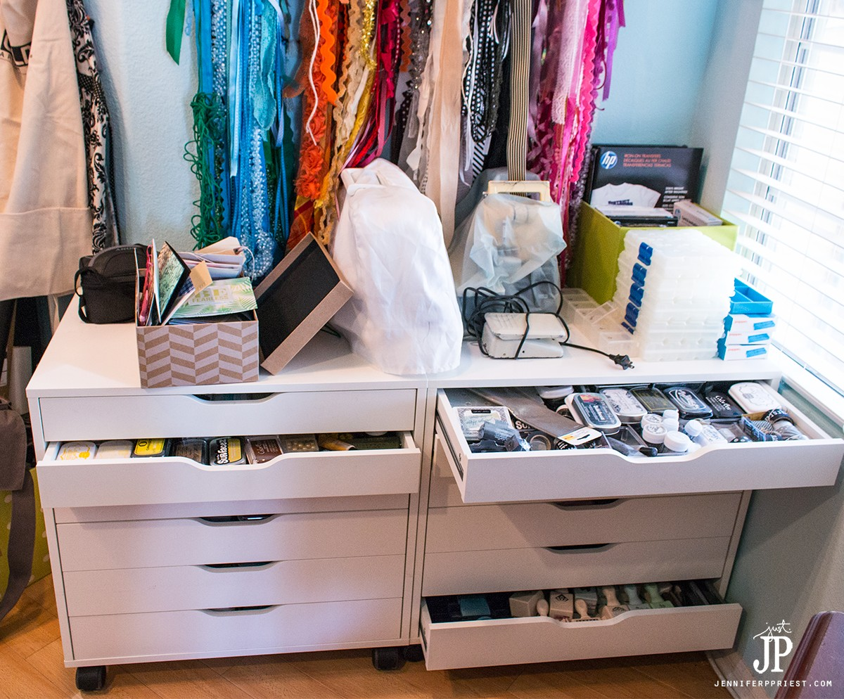 open-drawers-in-messy-craft-room-jenniferppriest