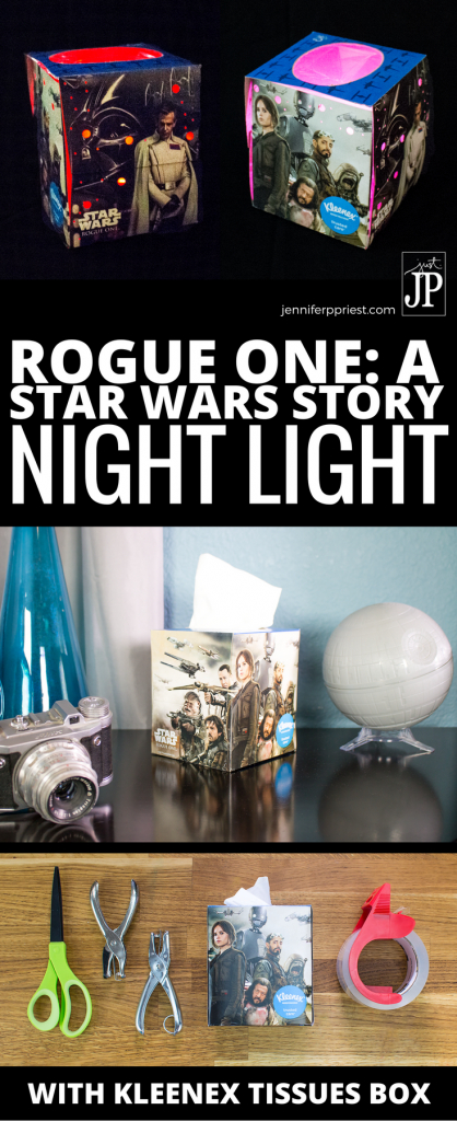 Kleenex tissue box by day, DIY Night Light by night! Get the deets on how to create your own Kleenex brand ft. Rogue One: A Star Wars Story designs DIY night light today at http://www.jenniferppriest.com/star-wars-kleenex/ #ShareKleenexCare #ad #RogueOne