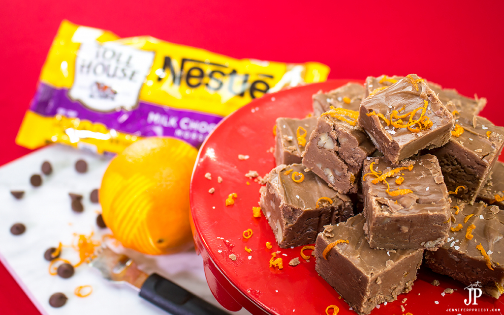 [AD] #BakeHolidayGoodness Chocolate Orange Fudge recipe with pecans - a modern update of the classic Fantasy Fudge recipe with NESTLÉ® CARNATION® Evaporated Milk and NESTLÉ® TOLL HOUSE® Semi-Sweet Chocolate Morsels