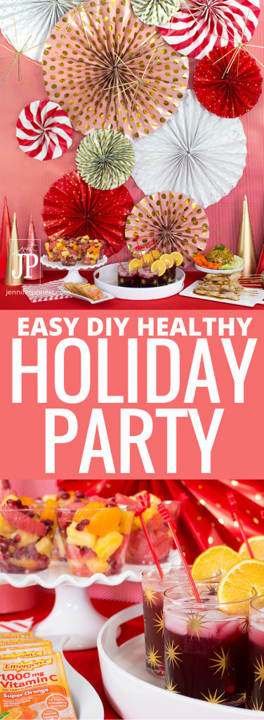 [AD] Holiday party food can be fun, festive, AND healthy. Like these Cranberry Orange Spritzers made with Emergen-C Super Orange 30 CT from @walmart. The recipe is so easy and the orange flavor from the Emergen-C tastes great. Who knew you could party down and get your vitamins too? CLICK to get the recipe and see how we decorated for a party by spending $0 -- yeah, DIY party decor you can make for FREE! #EmergenCRecipes
