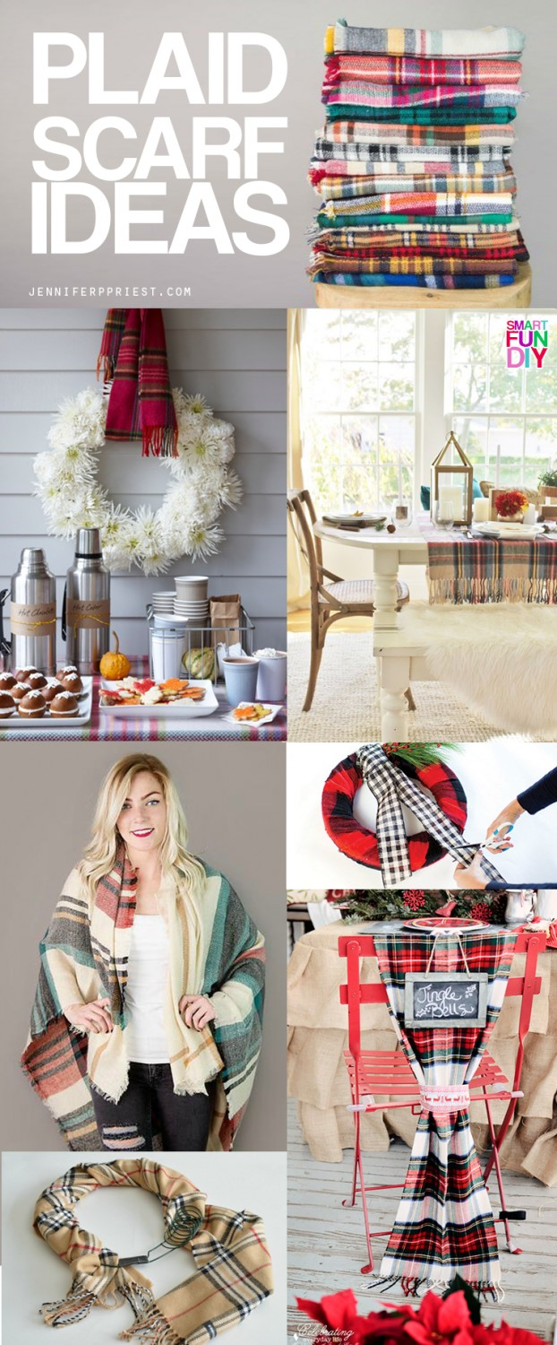 Plaid scarf ideas - how to wear plaid scarves, use them as home decor - think table runners, wreath hangers, and more - and make travel easier.