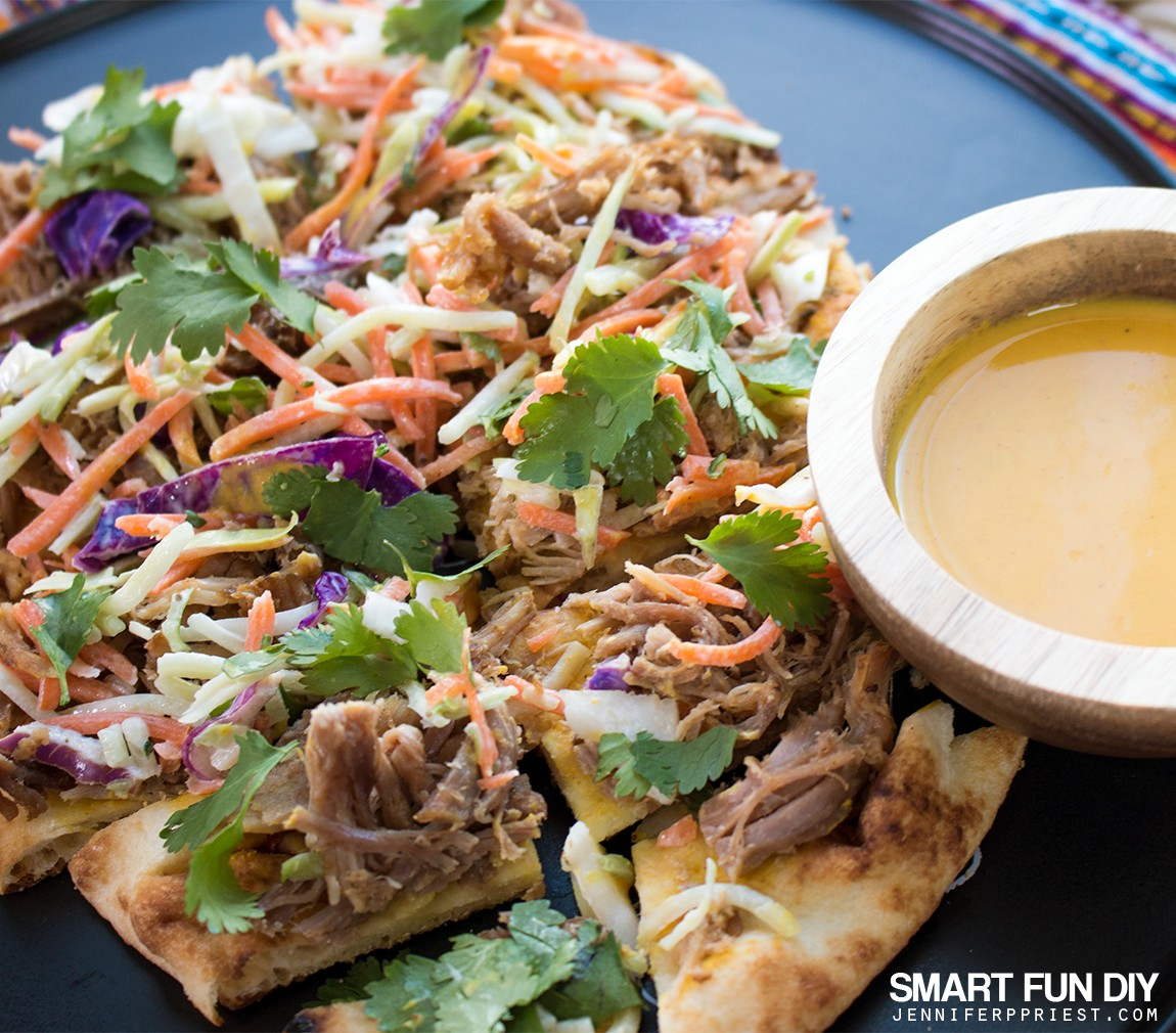 PULLED PORK Flatbread recipe - combine pulled pork with Stonefire Authentic Flatbreads Naan for a delish crunchy snackable GAME DAY treat!