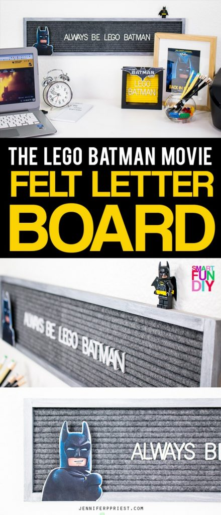 """Make a DIY felt letter board so you can display the greatest quote in the world: """"Always Be LEGO Batman"""". We're only working with black and very very dark gray for this one … watch #LEGOBatmanMovie in theaters February 10! Get the full supply list AND The LEGO Batman Movie printables here: http://jenniferppriest.com/lego-batman-movie-kids-felt-letter-board [AD]"""