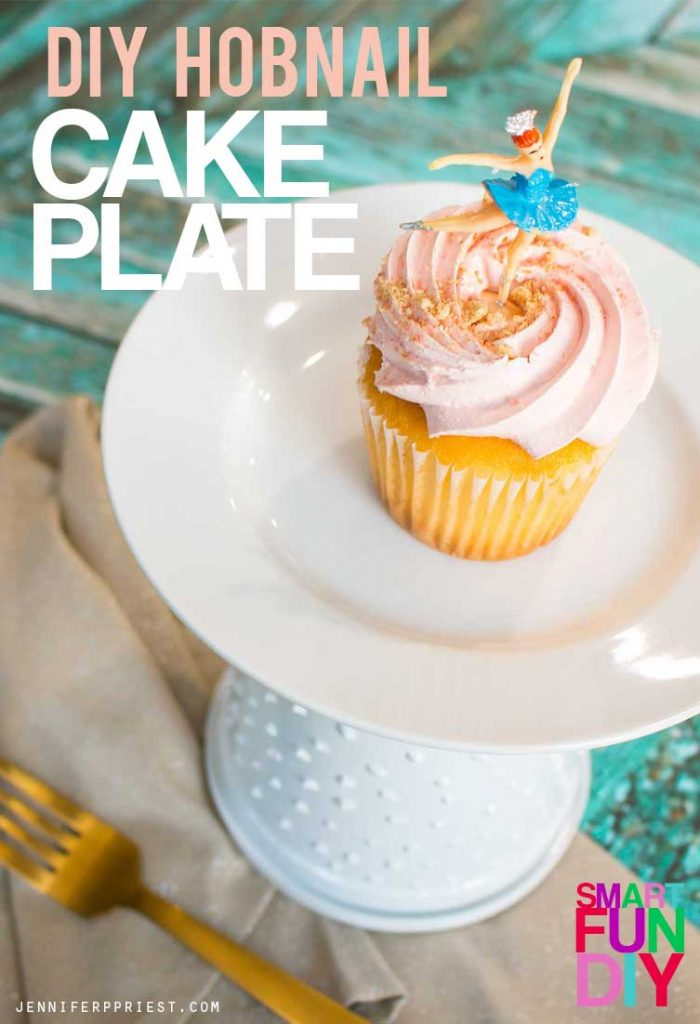 Make this faux hobnail glass cake plate with a yogurt tub! Easy yogurt tub craft idea using a Mountain High Yoghurt tub. Great for wedding or party decor when you need A LOT of cake plates but don't want to spend the money.