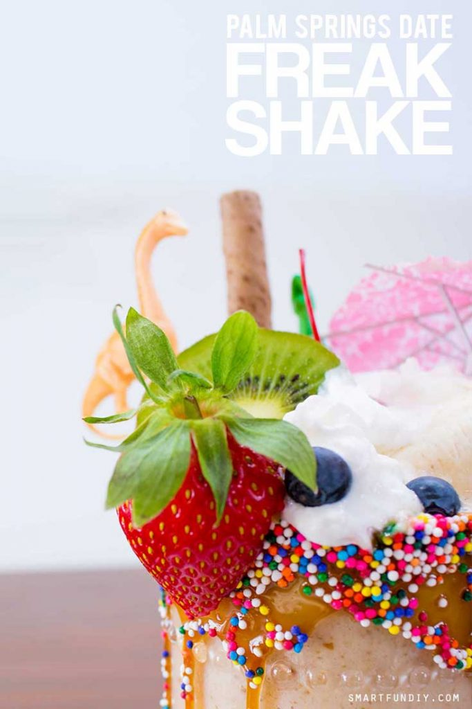 Banana Date Shake with fruit decorations