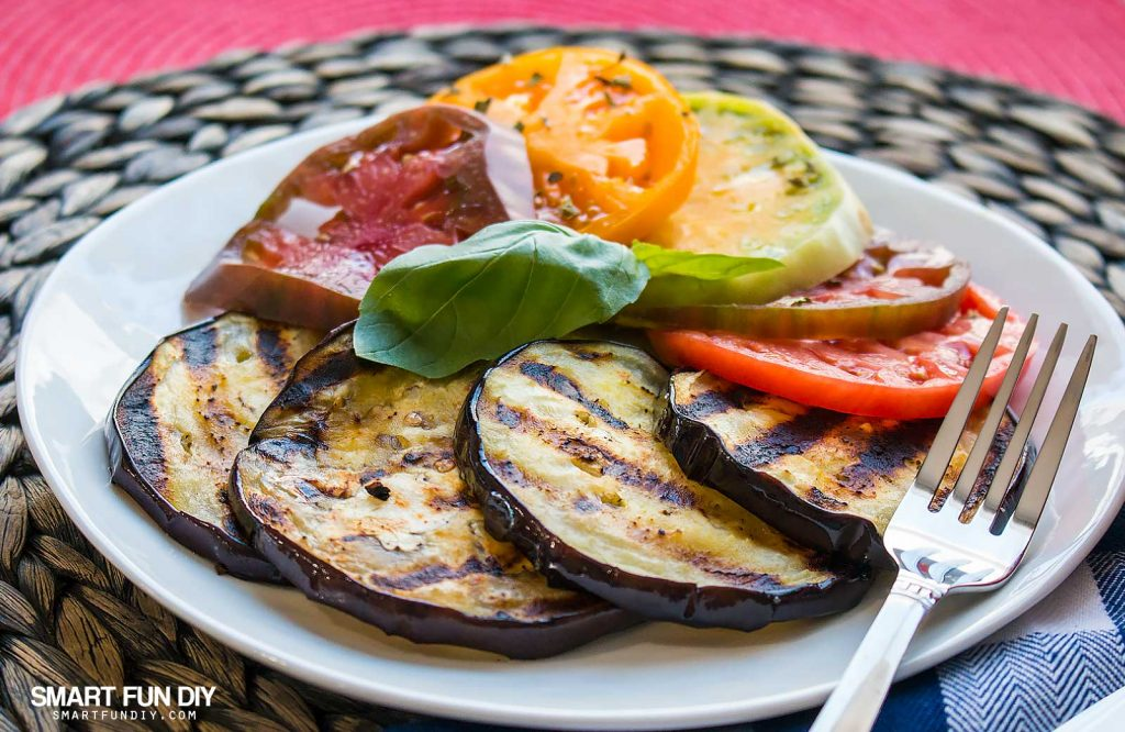 Grilled eggplant and heirloom tomato salad recipe https://www.smartfundiy.com/mothers-day-lunch-grilled-eggplant/ #SoWorthIt