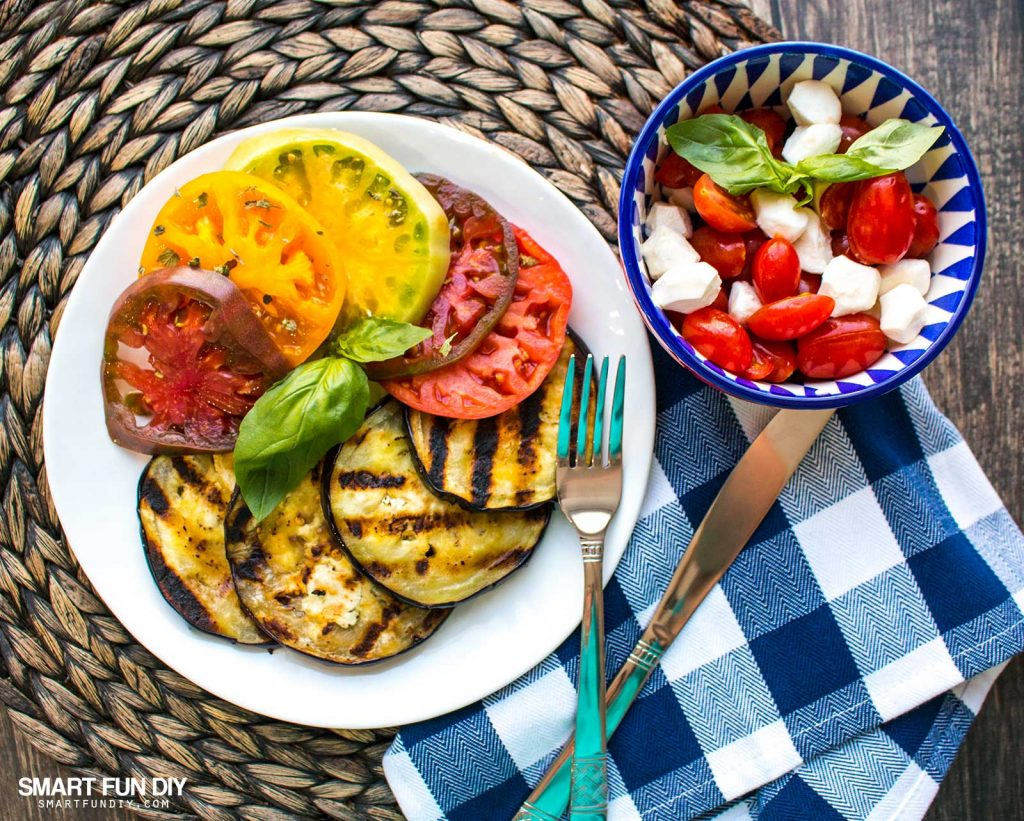Mother's Day Brunch with Mini Caprese salad recipe with grape tomatoes https://www.smartfundiy.com/mothers-day-lunch-grilled-eggplant/ #SoWorthIt