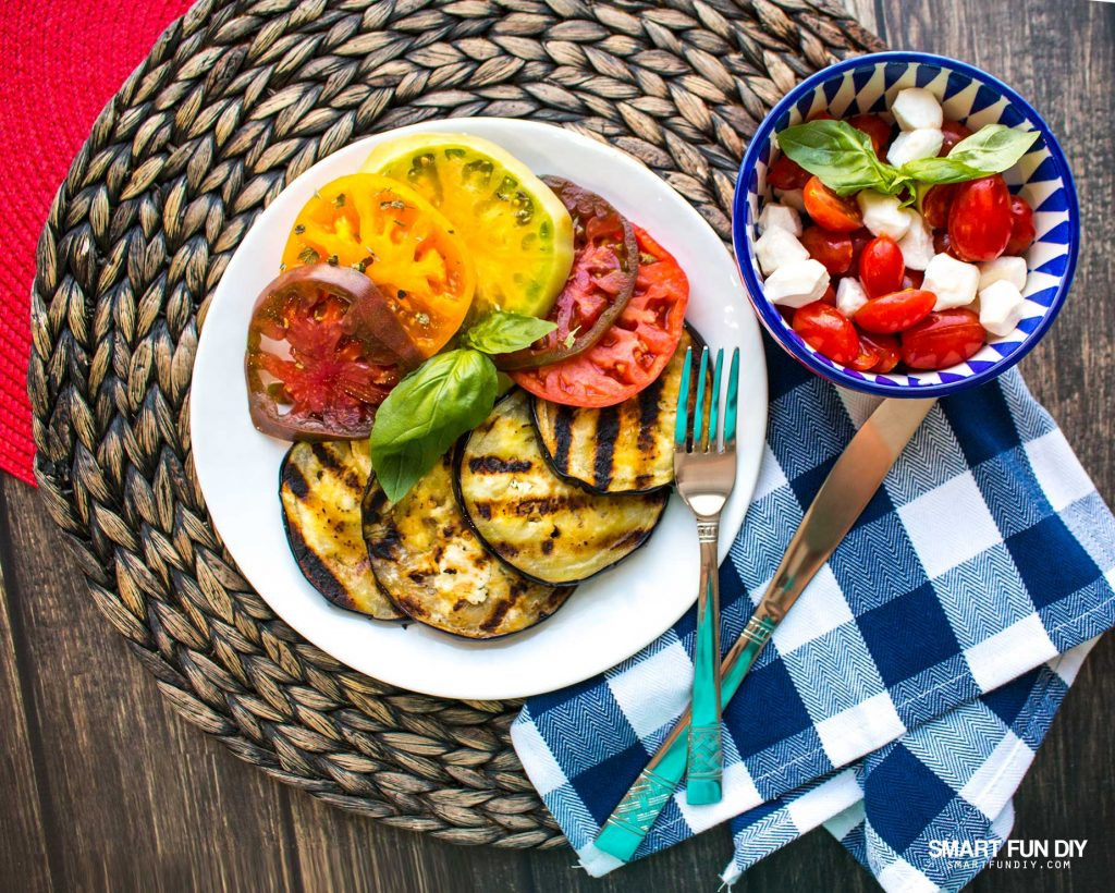 Make mom a MOTHER'S DAY brunch with grilled eggplant, heirloom tomatoes, and more ... get the recipes and these CUTE dishes here: https://www.smartfundiy.com/mothers-day-lunch-grilled-eggplant/ #SoWorthIt