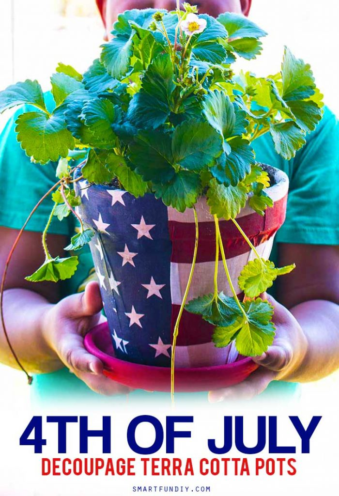 Scored an amazing deal on a bunch of terra cotta pots at @99centsonly so I made a bunch of DIY terra cotta pot ideas. Like did you know you can DECOUPAGE fabric onto terra cotta? YASSS! Get 3 patriotic DIY terra cotta pot ideas at https://www.smartfundiy.com/4th-of-july-diy-terra-cotta-pot/ P.S. that bandanna from #99CentsOnly is my fave right now! #DoingThe99 #99YourFourth #DoingThe99 #99YourFourth #4thofjuly #terracotta #99cents #partydecor #partyideas #summer #america #americana [AD]