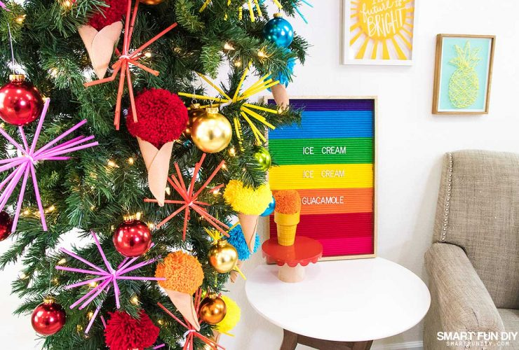 DIY Ice Cream Cone Ornaments – National Ice Cream Month Summer Rainbow Christmas Tree!