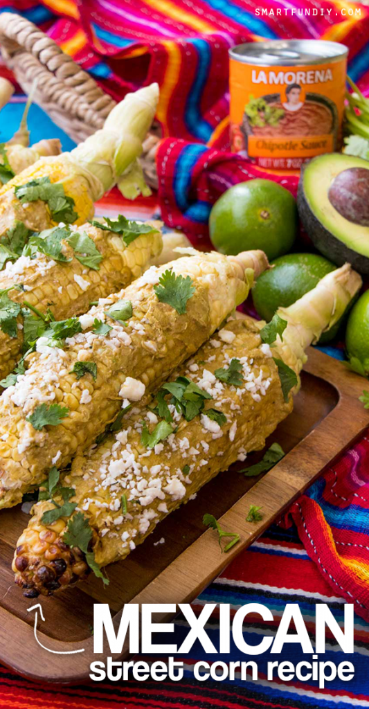 Homemade MEXICAN STREET CORN recipe! https://www.smartfundiy.com/grilled-avocado-chipotle-elotes-recipe/ ... with a delicious spicy kick from LA MORENA® Chipotle Sauce from Northgate Market! BONUS _ this elotes recipe does not have MAYO!! #VivaLaMorena [AD]