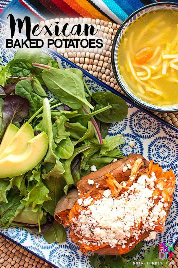20 Minute meal - make these easy Mexican baked sweet potatoes for back to school or a quick weeknight dinner the whole family will love ... only 5 ingredients!