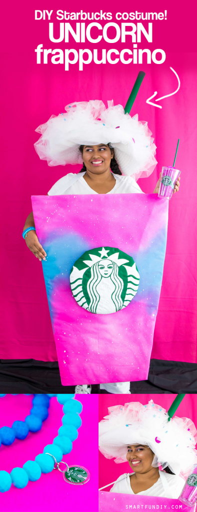 Easy for adults + kids - DIY Unicorn Frappuccino Costume! Easy DIY Halloween Costume to wear and make!