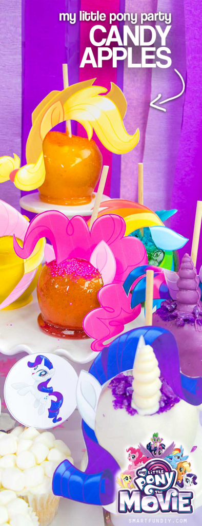 Candy apples decorated to look like My Little Pony characters