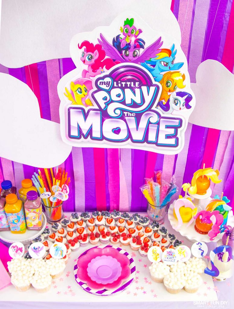 My Little Pony Party spread - back drop and table decor
