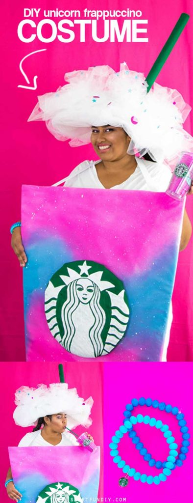 DIY Unicorn Frappuccino Costume - the easiest to make + wear Frappuccino costume ever! Make this in ANY size, even plus size or for kids!