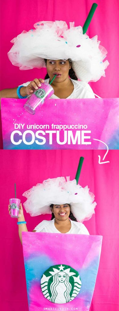 DIY Starbucks costume fits adults + kids - DIY Unicorn Frappuccino Costume! Easy DIY Halloween Costume to wear and make!