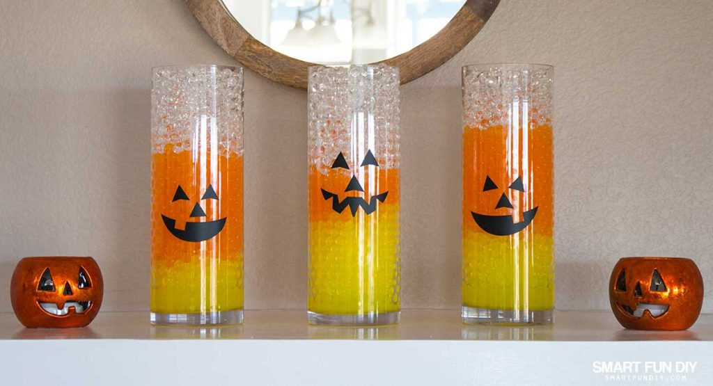 Candy Corn Water Beads Halloween Vase Filler Idea