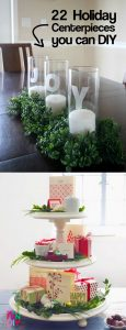 A round up for 22 of the BEST DIY holiday centerpieces that look expensive (but aren't!) DIY these tablescapes for the Thanksgiving or Christmas dinner table. #tablescape #tablescapeideas #Thanksgiving2017 #Christmas2017 #Christmas2018