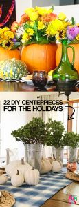 Create a holiday table they'll all remember! 22 DIY centerpieces and tablescapes for Christmas and Thanksgiving #Tablescape #centerpieceideas #tablescapeideas #Thanksgiving #Christmas2017 #Christmas2018